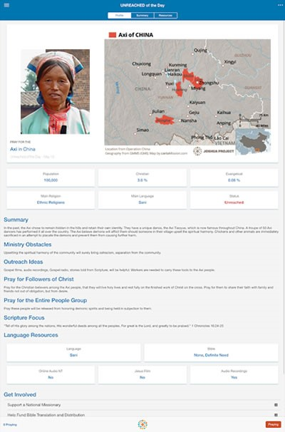 Unreached of Day App | Joshua Project