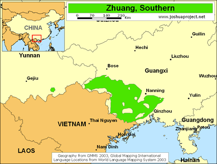Map of Zhuang, Zuojiang in China