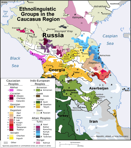 Map of Armenian in Armenia