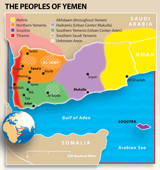 Map of Arab, Egyptian in Yemen