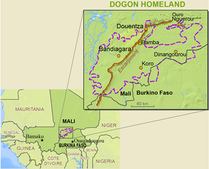 Map of Dogon, Dogul Dom in Mali