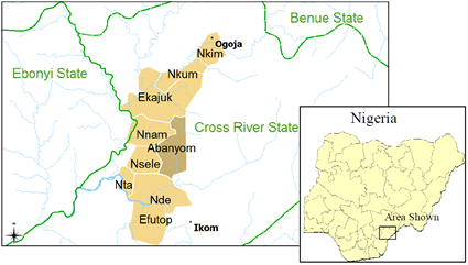 Map of Abanyom in Nigeria