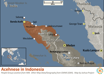 Map of Acehnese in Indonesia