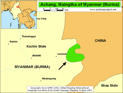 Map of Achang, Maingtha in Myanmar (Burma)