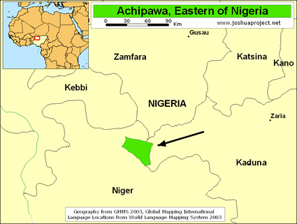 Map of Achipawa in Nigeria