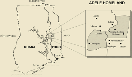 Map of Adele in Togo