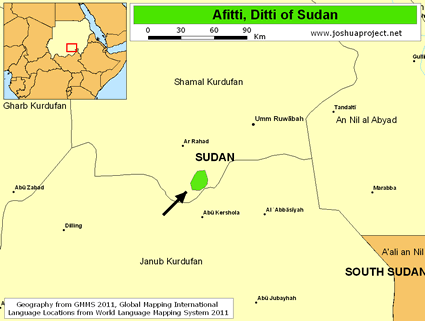 Map of Afitti, Ditti in Sudan