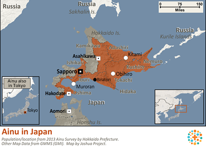 Map of Ainu in Japan
