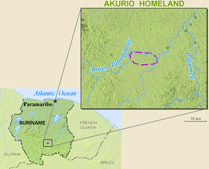 Map of Akuliyo, Wama in Suriname