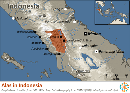 Map of Alas in Indonesia