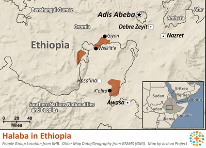 Map of Halaba in Ethiopia