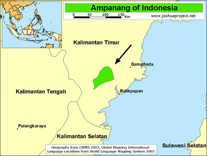 Map of Ampanang in Indonesia