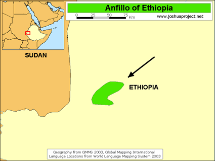 Map of Oromo, Anfillo in Ethiopia
