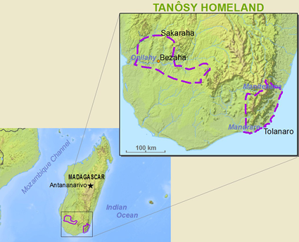 Map of Antanosy in Madagascar