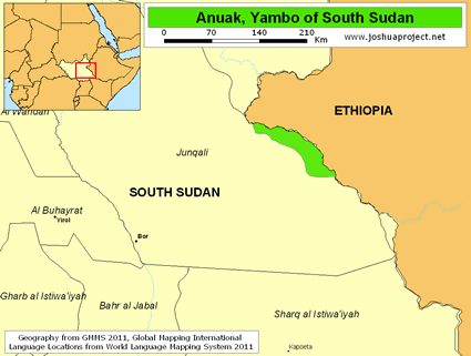 Map of Anuak in South Sudan