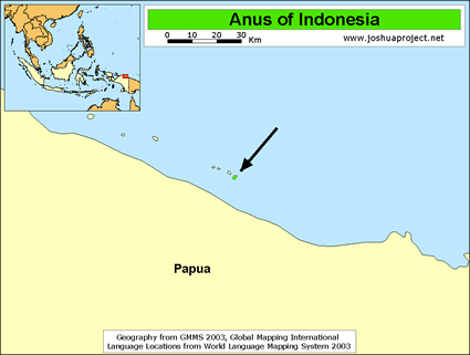 Map of Anus in Indonesia