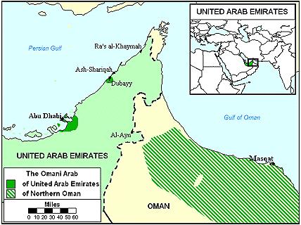 arab omani in united arab emirates map