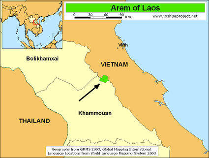 Map of Arem in Vietnam