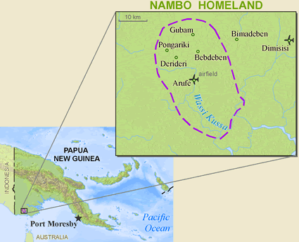 Map of Arufe, Nambo in Papua New Guinea