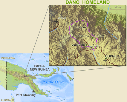 Map of Asaro, Upper Asaro in Papua New Guinea