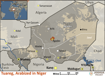 Map of Tuareg, Arabized in Niger
