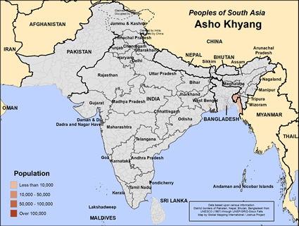 Map of Asho Khyang in India