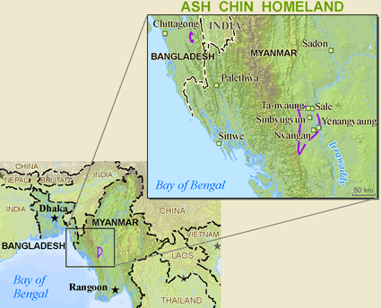 Map of Chin, Asho in Myanmar (Burma)