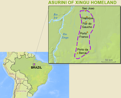 Map of Asurini do Xingu in Brazil