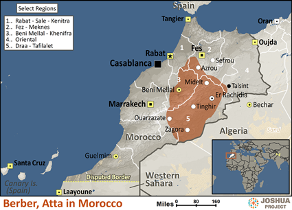 Map of Berber, Atta in Morocco