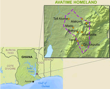 Map of Avatime, Sideme in Ghana