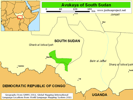 Map of Avukaya in South Sudan