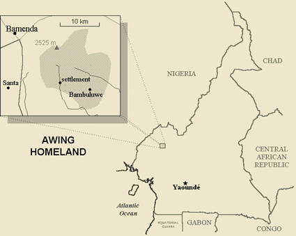 Map of Awing in Cameroon