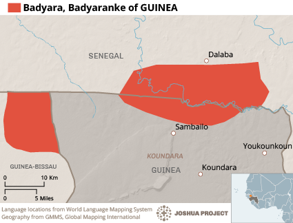 Map of Badyara in Guinea