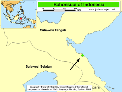 Map of Bahonsuai in Indonesia