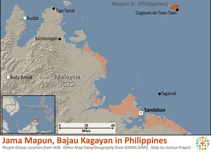 Map of Jama Mapun, Bajau Kagayan in Philippines