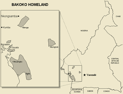 Map of Bakoko, Basoo in Cameroon