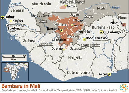 Map of Bambara in Mali