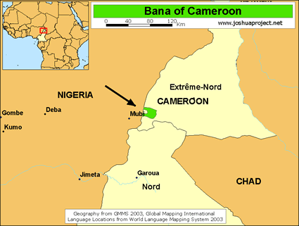 Map of Fali in Cameroon