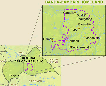 Map of Banda-Bambari, Linda in Central African Republic