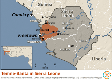 Map of Temne-Banta in Sierra Leone