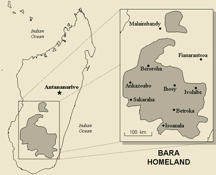 Map of Bara in Madagascar