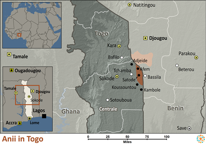 Map of Anii in Togo