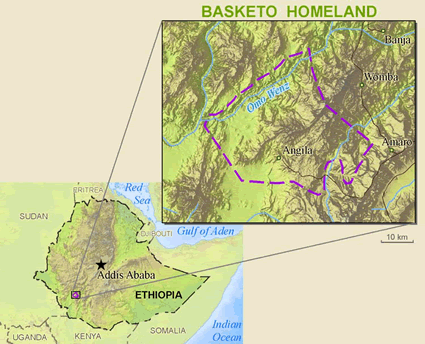 Map of Basketo in Ethiopia