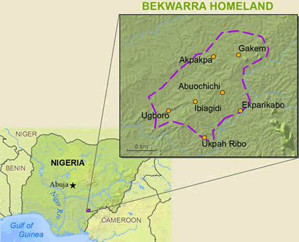 Map of Bekworra, Yakoro in Nigeria