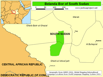 Map of Belanda Bor in South Sudan