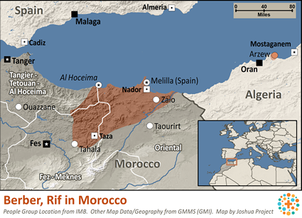 Map of Berber, Rif in Morocco