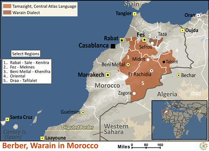 Map of Berber, Warain in Morocco