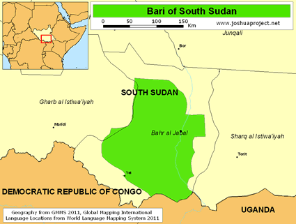 Map of Bari in South Sudan
