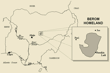 Map of Berom in Nigeria