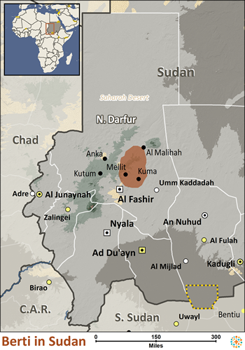 Map of Berti in Sudan